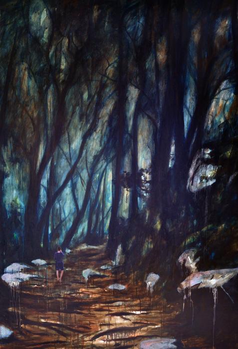 Konzentrieren Sie sich auf das Geräusch, 2016, 190 x 130, Oil and acrylic on canvas